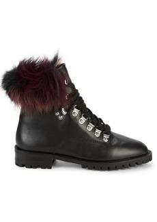Rebecca Minkoff Jaylin Fox Fur-Trim Leather Combat Boots