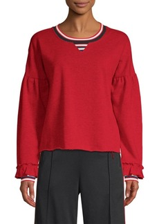 Rebecca Minkoff Jewel Puff-Sleeve Crewneck Sweatshirt