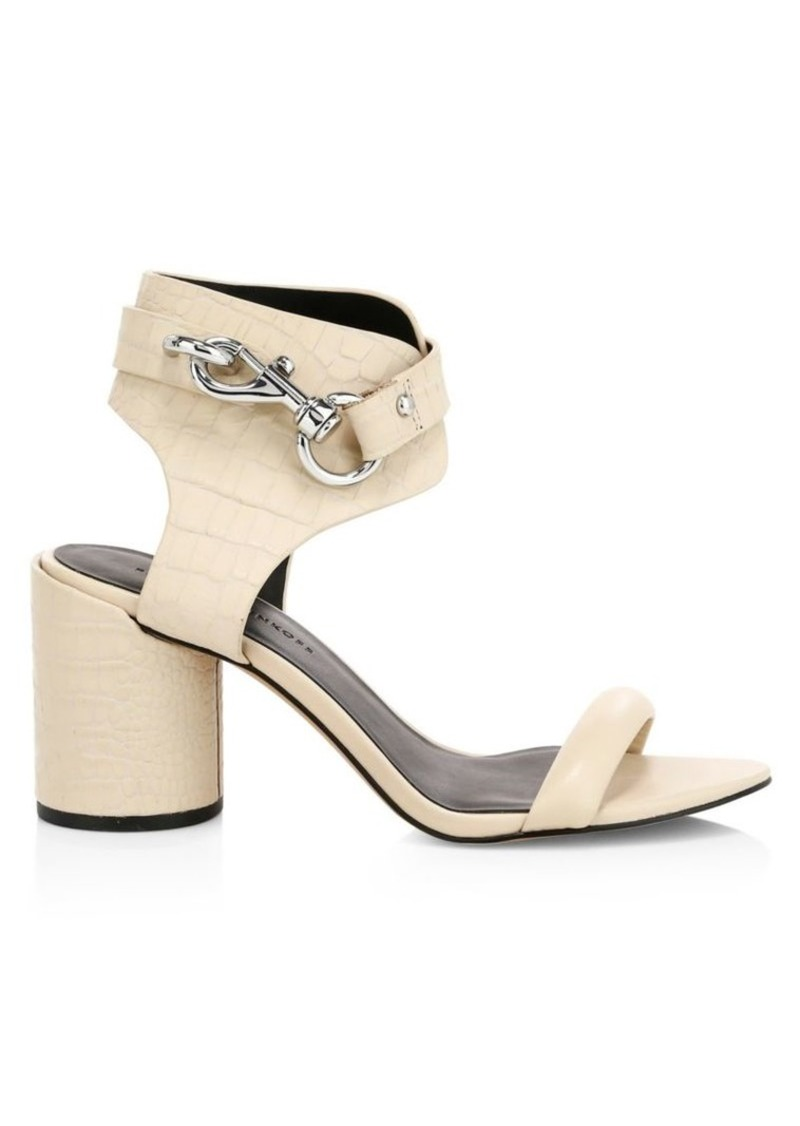 Rebecca Minkoff Malina Chunky Buckle Leather Ankle Strap Sandals