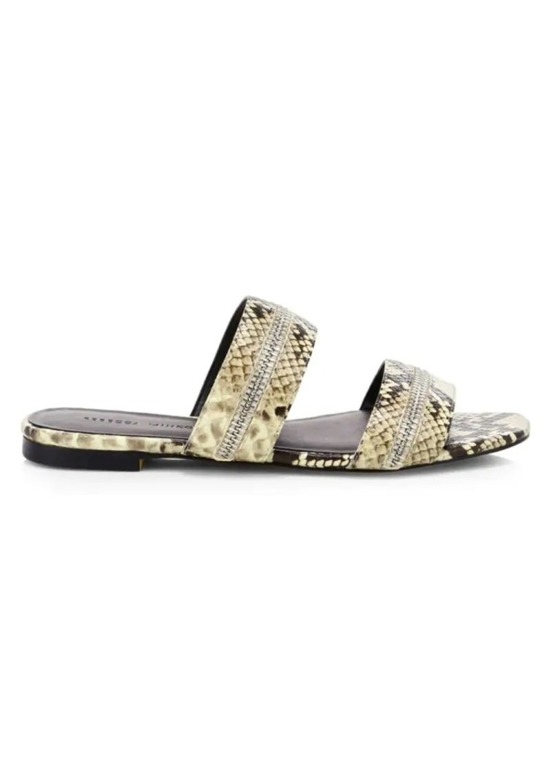 Rebecca Minkoff Marciann Too Zipper Snakeskin Sandals