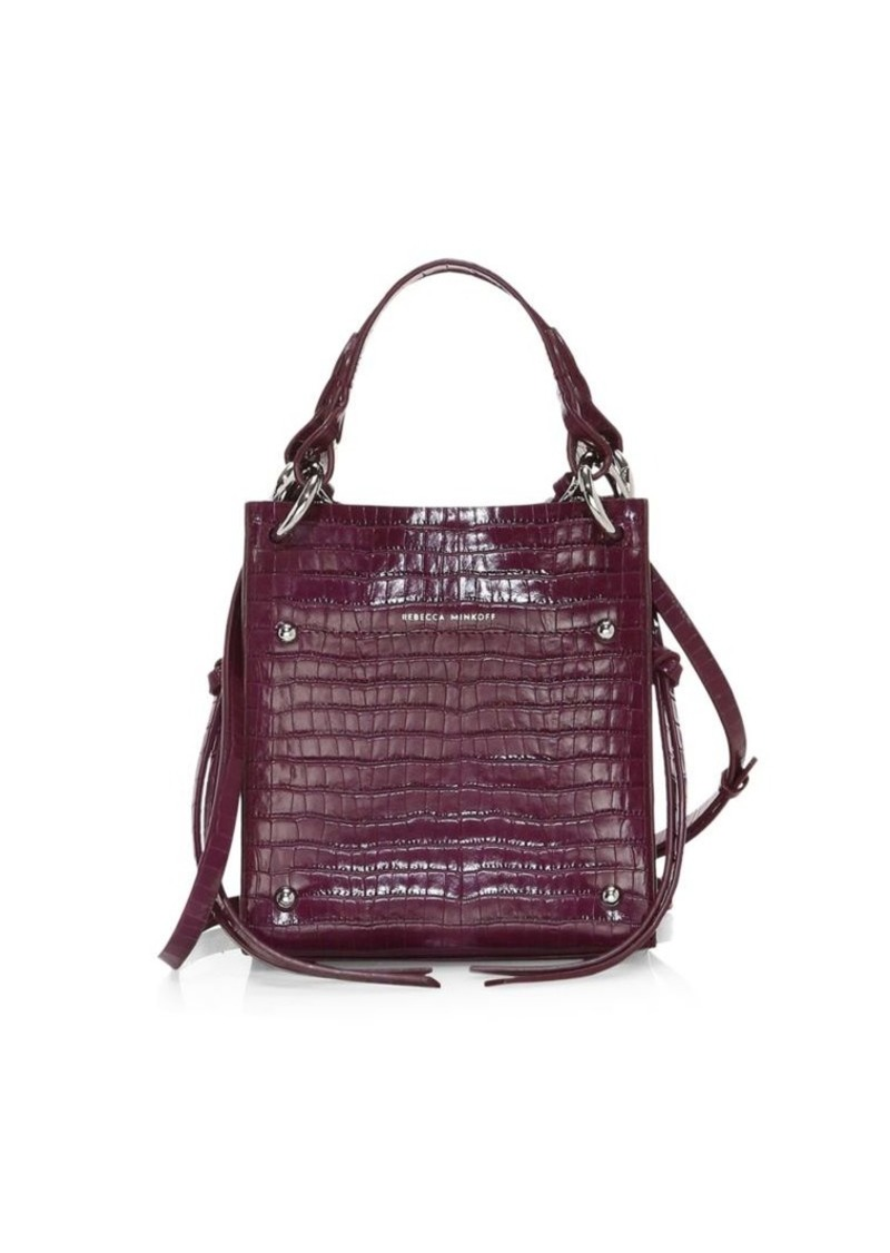 Rebecca Minkoff Mini Kate Croc-Embossed Leather Tote