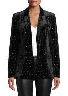 Rebecca Minkoff Morris Embellished Velvet Two-Button Jacket