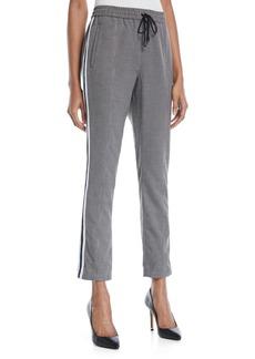 Rebecca Minkoff Nora Straight-Leg Check Pants w/ Racer Stripes