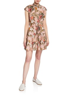 Rebecca Minkoff Ollie Floral Cap-Sleeve Shirtdress