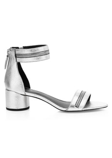 Rebecca Minkoff Ortenne Zipper Metallic Leather Sandals