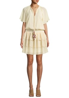 Rebecca Minkoff Pebble Tassel-Neck Floral Motif Dress with Tiered Skirt