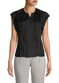 Rebecca Minkoff Pleated Split-Neck Top