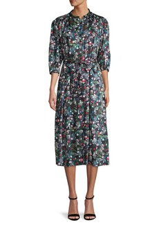 Rebecca Minkoff Quarter-Sleeve Floral Midi Dress