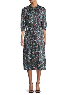 Rebecca Minkoff Quarter-Sleeve Floral Midi Dress