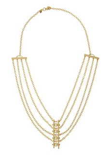 Rebecca Minkoff 12K Gold-Plated Multi-Strand Pearly Bar Necklace