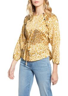 Rebecca Minkoff Angelina Leopard Print Tie Waist Blouse