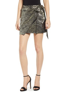 Rebecca Minkoff Augustina Shimmering Jacquard Faux Wrap Skirt