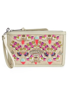 Rebecca Minkoff Beaded Jute & Leather Wristlet