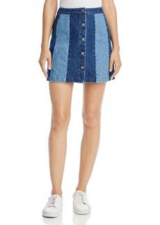 Rebecca Minkoff Beatty Color-Blocked Denim A-Line Skirt