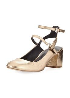Rebecca Minkoff Brooke Metallic Leather Chunky Heel Pump