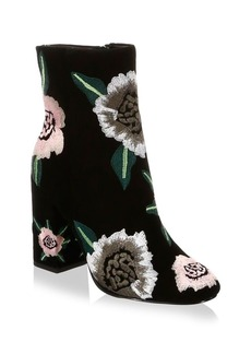 Rebecca Minkoff Bryce Embroidered Suede Block Heel Booties