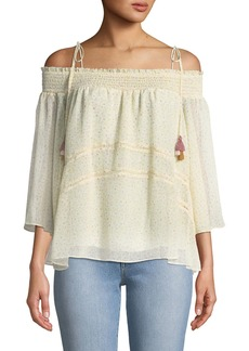Rebecca Minkoff Casey Off-the-Shoulder Floral-Print Blouse with Tassel Ties