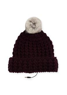 Rebecca Minkoff Chunky Tuck Beanie Hat w/ Fur Pompom