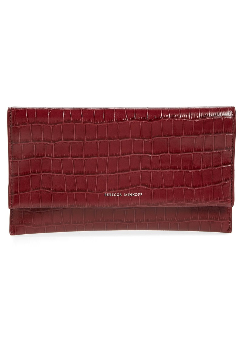 Rebecca Minkoff Croc Embossed Leather Clutch