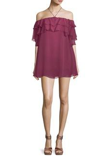 Rebecca Minkoff Dena Off-the-Shoulder Ruffled Chiffon Mini Dress