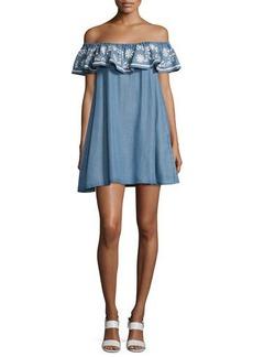 Rebecca Minkoff Dev Chambray Off-the-Shoulder Dress