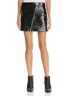 Rebecca Minkoff Elly Faux-Patent Zipper Mini Skirt