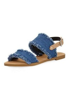 Rebecca Minkoff Emery Denim Fringe Flat Sandal
