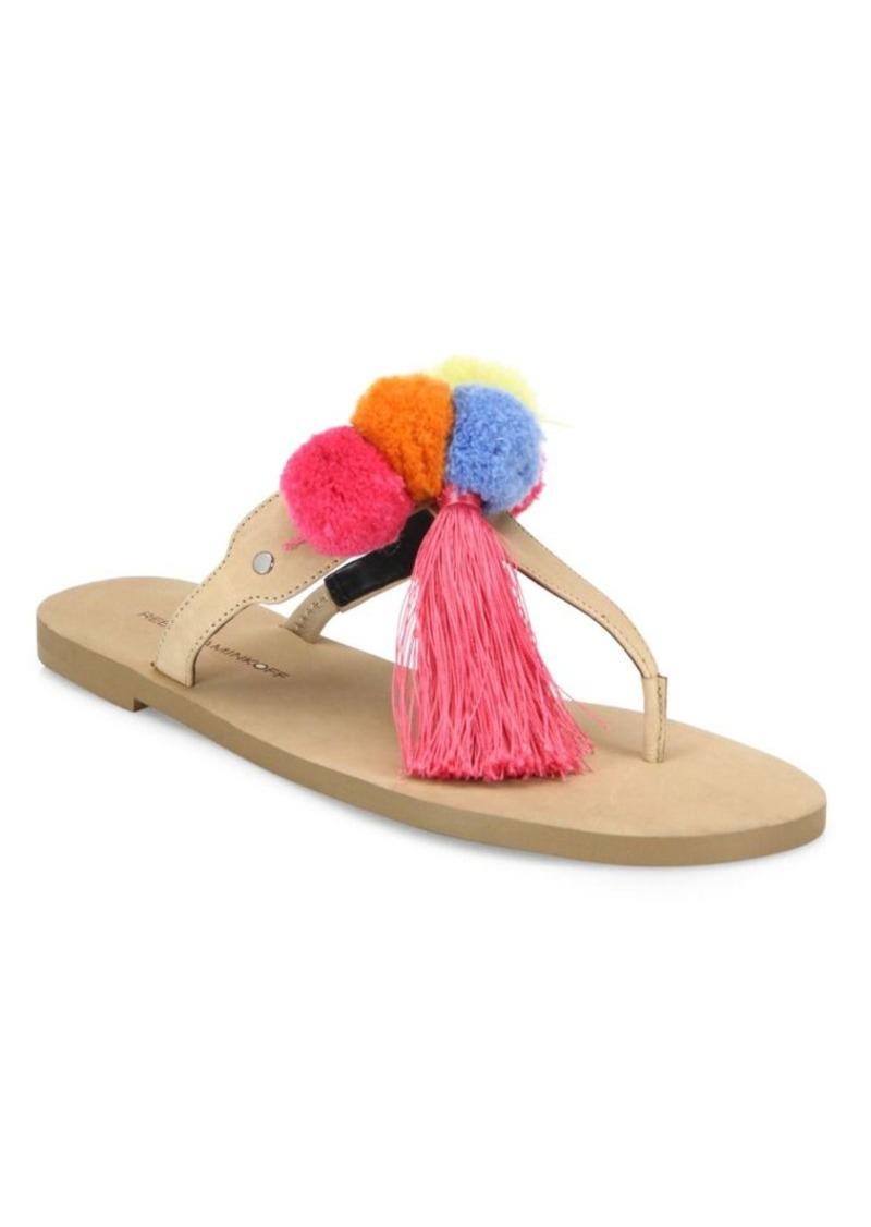 Rebecca Minkoff Erika Pom-Pom Leather Thong Sandals