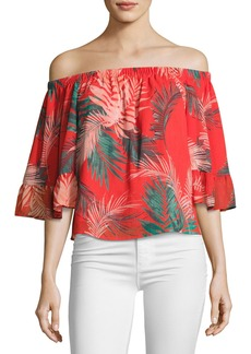 Rebecca Minkoff Faith Tropical Palm Off-the-Shoulder Top
