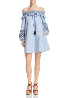 Rebecca Minkoff Goldie Smocked Embroidered Off-the-Shoulder Dress