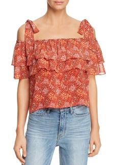 Rebecca Minkoff Jamie Ruffled Cold-Shoulder Floral-Print Top