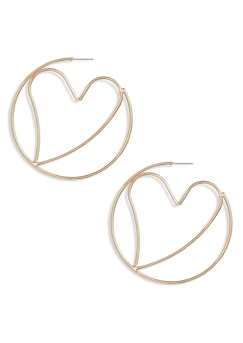 Rebecca Minkoff Large Heart Hoop Earrings
