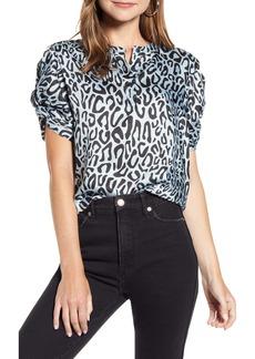 Rebecca Minkoff Leopard Print Puff Sleeve Top