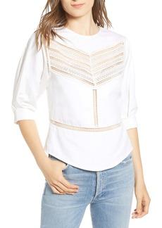 Rebecca Minkoff Lucia Lace Inset Linen & Cotton Blouse