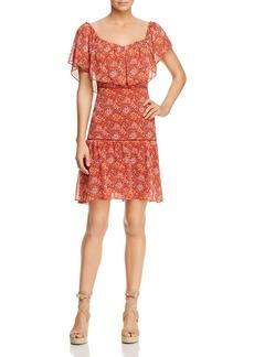 Rebecca Minkoff Lynne Shoulder-Detachable Ruffle Floral-Print Dress