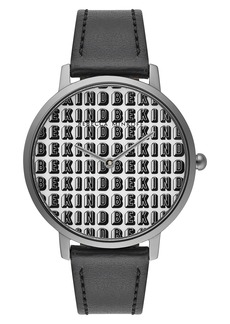 Rebecca Minkoff Major Be Kind Leather Strap Watch, 35mm