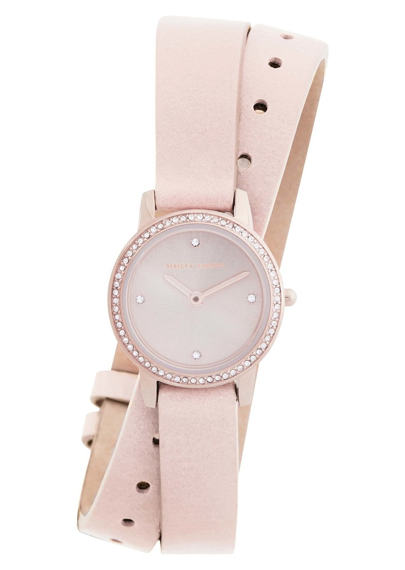 Rebecca Minkoff Major Double Wrap Leather Strap Watch, 22mm