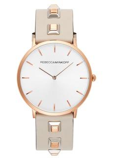 Rebecca Minkoff Major Embellished Leather Strap Watch, 40mm