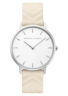 Rebecca Minkoff Major Embossed Leather Watch, 35mm