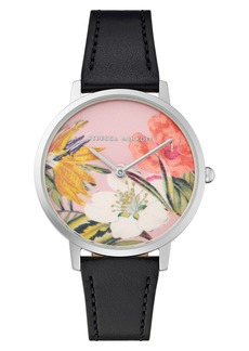 Rebecca Minkoff Major Floral Dial Leather Strap Watch, 35mm