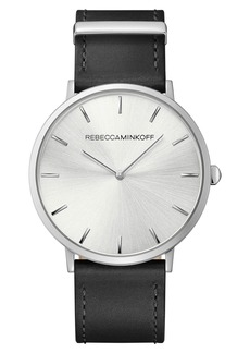 Rebecca Minkoff Major Leather Strap Watch, 40mm