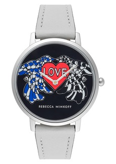 Rebecca Minkoff Major Love Leather Strap Watch, 35mm