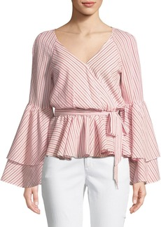 Rebecca Minkoff Melly Striped Bell-Sleeve Blouse