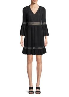 Rebecca Minkoff Merryl Bell-Sleeve Crochet Mini Dress