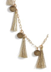 Rebecca Minkoff Metallic Pom & Tassel Necklace