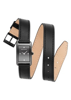 Rebecca Minkoff Moment Wrap Leather Strap Watch, 19mm x 30mm