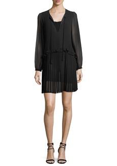 Rebecca Minkoff Morrison Split-Neck Chiffon Mini Dress