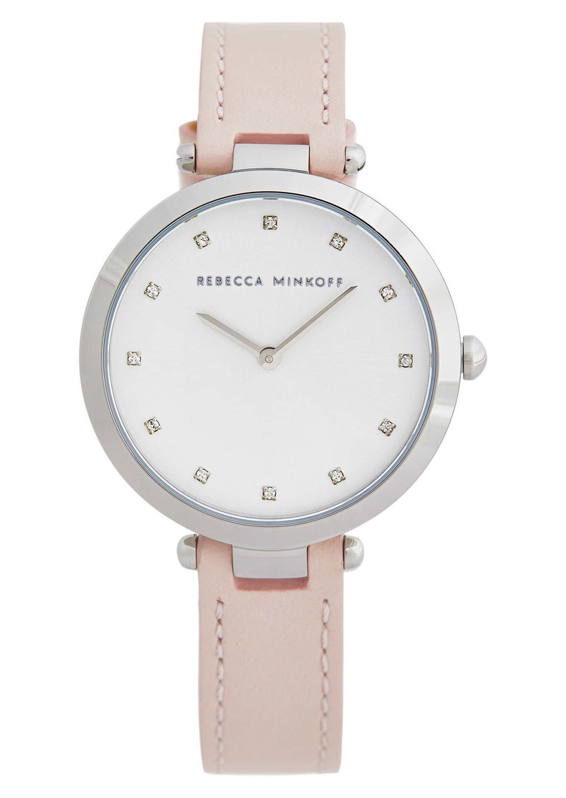Rebecca Minkoff Nina Leather Strap Watch, 33mm