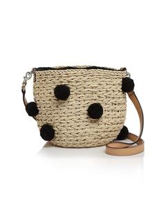 Rebecca Minkoff Pom-Pom Straw Bucket Bag