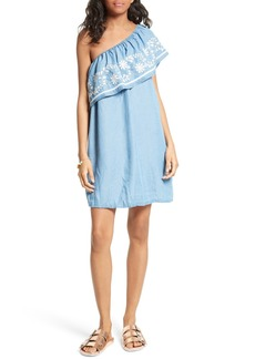 Rebecca Minkoff Rita Chambray One-Shoulder Dress